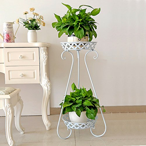 Plant stand,Iron art planter holders 2 tier corner shelf flower pots Tray design Floor flower shelf Green radish Meat pot rack Balcony flower shelf Perfect for home Garden Patio-A (Wood Furniture Outdoor Of Out Pallets)