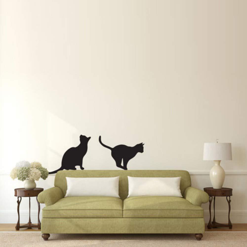 Gatos sentados y saltando silueta pegatinas de pared animal ...