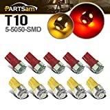 Partsam 10x Clearance Cab Marker Roof Top Light 5050 T10 194 LED Bulb for 03-09 Hummer H2 SUV