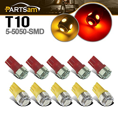 Partsam 10x Clearance Cab Marker Roof Top Light 5050 T10 194 LED Bulb for 03-09 Hummer H2 SUV (Hummer H2 Parts)
