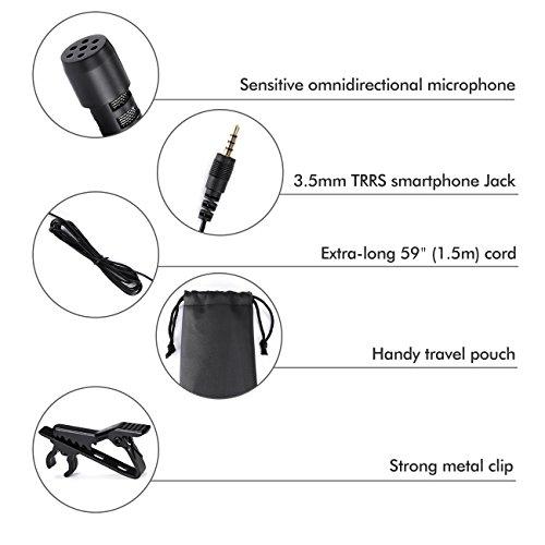 Lavalier Microfono, Professional Grade Mini Microfono Clip a Condensatore Omnidirezionale 3.5mm con 2 adattatore Con Easy Clip sul sistema, per Registrazione di Interviste / Conferenza Video / Podcast