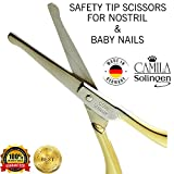 "Camila Solingen CS06 3"" Professional Hypoallergenic Gold Plated Rounded Safety Tip Scissors for Facial, Body & Nostril Hair. for Men Women & Kids. Made of Durable Stainless Steel in Solingen, Germany"