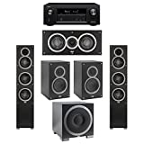 Elac 5.1 System with 2 Debut F5 Floorstanding Speakers, 1 Debut C5 Center Speaker, 2 Debut B5 Bookshelf Speakers, 1 Debut S10EQ Subwoofer, 1 Denon AVR-X2300W A/V Receiver