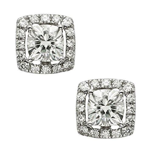 14k White Gold Moissanite Earrings (14K White Gold 5.5mm Cushion Cut Moissanite Stud Earrings, 1.92cttw DEW By Charles & Colvard)