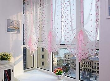 Tende Per Finestra Balcone : Eazyhurry fresh ricamato rosa floreale fiore tie up roman tenda con