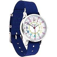 EasyRead Time Teacher Tiempo de reloj de los niños, 12& 24Hour, arco iris Colores, correa de color azul marino