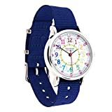 EasyRead Time Teacher Children's Watch, 12 & 24 Hour Time, Rainbow Colors, Navy Blue Strap