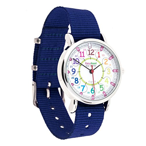 EasyRead Time Teacher Children's Watch, 12 & 24 Hour Time, Rainbow Colors, Navy Blue Strap by EasyRead Time Teacher