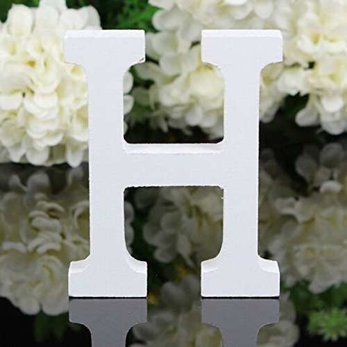 Totoo Decorative Wood Letters, Hanging Wall 26 Letters Wooden Alphabet Wall Letter for Children Baby Name Girls Bedroom Wedding Brithday Party Home Decor-Letters (H)