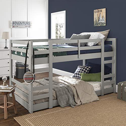 WE Furniture AZWJRTOTGY Bunk Bed, Twin, Grey