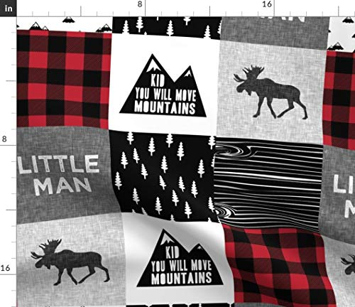 Spoonflower Moose Fabric - Moose Woodland Trendy Buffalo Plaid Lumberjack Patchwork by Littlearrowdesign Printed on Minky Fabric by The Yard ()