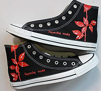 870cf8a6d15a Image Unavailable. Image not available for. Color  Depeche Mode Rose  Customized Shoes Hand Painted Anime Sneaker Black ...