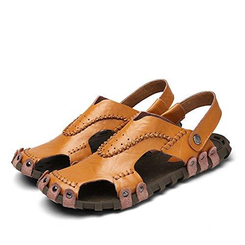 Xing Lin Flip Flop De La Playa Verano Nuevo MenS Hollow Sandalias Casual Masculino Baotou Exterior Antideslizante Artesanales Sandalias Zapatos De Hombre brown