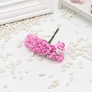 12 pcs Mini Rose Paper Handmade Artificial Flower Bouquet Wedding Decoration Wreath DIY Gift Scrap Booking Craft Flower False