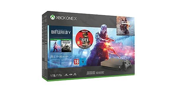 Xbox One X 1TB Gold Rush Special Edition console Battlefield V Bundle + Apex Legends Founders Pack - Xbox One [Importación inglesa]: Amazon.es: Videojuegos