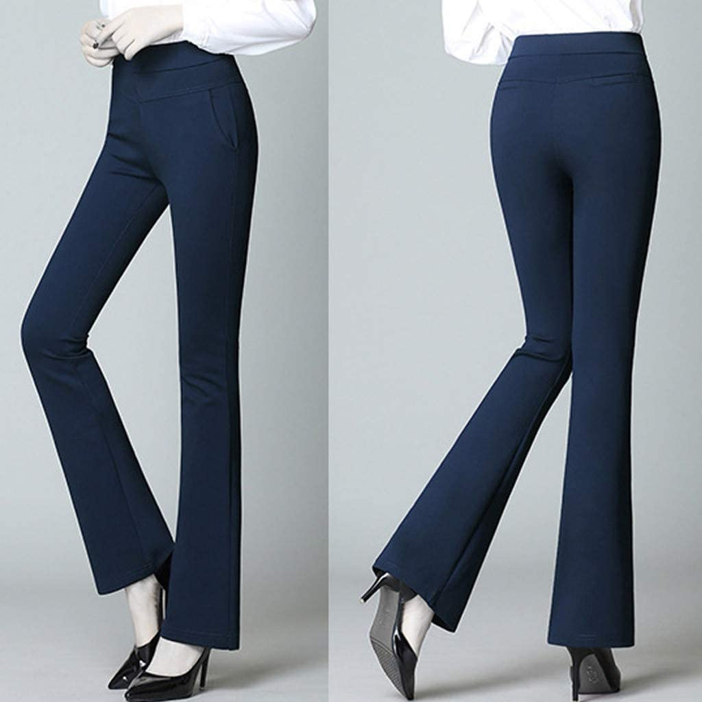 Women Bell-Bottom Pants High Stretch Pocket Shaping Dress Pants Office Casual Slim Solid Trousers Flare Pants Classic Comfy Stretchy Yoga Pants