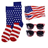 Women's American Flag Sock and Sunglasses Set (2 Pack)