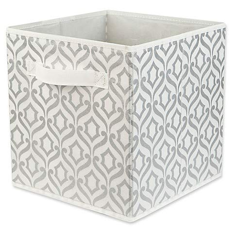Home Basics Damask Patterned Storage Bin in Metallic Silver - College Must Haves