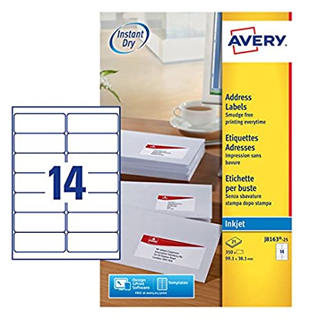 amazon com avery dennison quick dry addressing labels inkjet 14 per