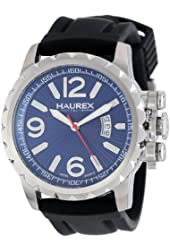 Haurex Italy Men's 3A502UBN Aeron Stainless Steel Black Rubber Luminous Date Watch