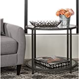 Round Side Table With Storage Area Coffee Table With under Shelf Room Décor End Table Grey Cocktail Table Furniture Table Review