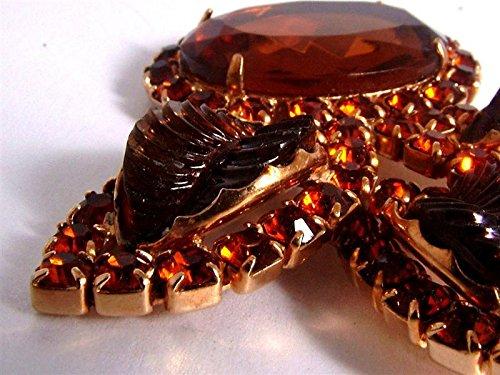 Superbe Cathe coloré Ambre strass Grande Broche Design Feuille Forme-12370