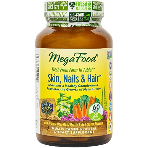 MegaFood - Skin, Nails, Hair, Multivitamin Support for Hormone Balance to Encourage a Healthy Complexion, Strong Nails, and Beautiful Hair with Biotin, Vegan, Gluten-Free, Non-GMO, 60 Tablets (FFP) by MegaFood