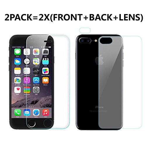 Premium Real Full Screen Protector Premium Tempered Glass Protective Film For Apple iPhone 7Plus 7 Plus 5.5 Fornt +Back +Lens