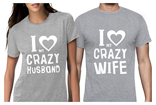 Tstars Funny Husband & Wife Couples Gift Anniversary/Newlywed Matching Set T-Shirts Man Gray XX-Large/Woman Gray Large (Wed Set)
