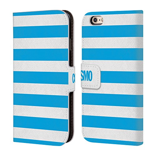 Official Cosmopolitan Sky Blue Stripes Collection Leather Book Wallet Case Cover For Apple iPhone 6 / 6s