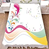iPrint Bed Skirt Cover 3D Print,Dots with Flower Leaves Kids Girls Baby Childish,Fashion Personality Customization adds Color to Your Bedroom. by 90.5''x96.5''