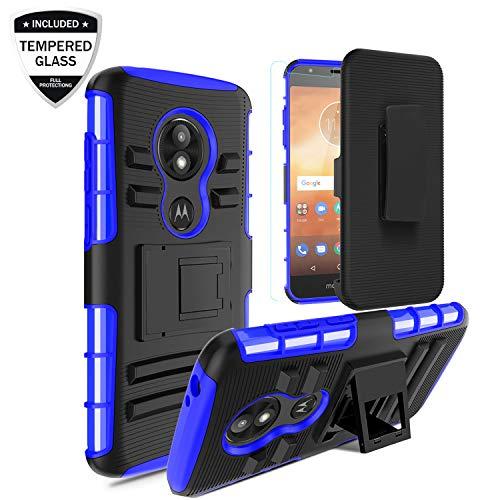 Moto E5 Play Case, Moto E5 Cruise Case w/Tempered Glass Screen Protector, Heavy Duty Shockproof Full-Body Protective Hybrid Case Cover w/Swivel Belt Clip Holster Kickstand Men/Women/Boys, Blue