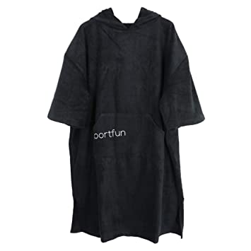 e2598a1fcf perfk Unisex Soft Microfiber Water-absorbing Wetsuit Changing Robe Bath  Towel Bathrobe Hooded Poncho for