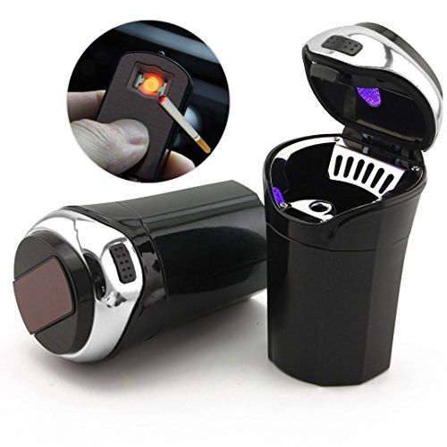 TAKAVU Car Ashtray with Blue Led Light Lid Lighter Detachable Portable Stainless Cigarette Ashtrays for Most Cars Cup Holder (Antique Auto Parts Ford)