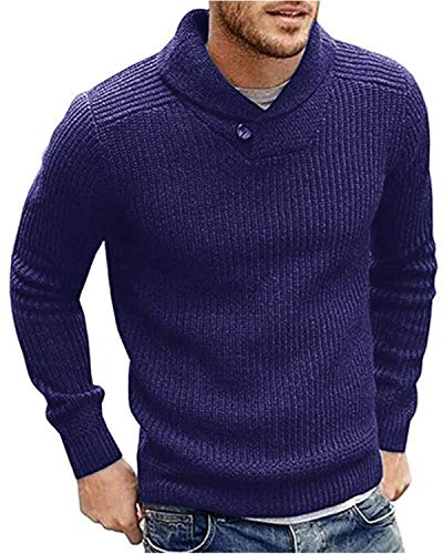 (Mens Sweaters Shawl Collar Slim Fit Pullover Fall Winner Casual Knit Ribbed)