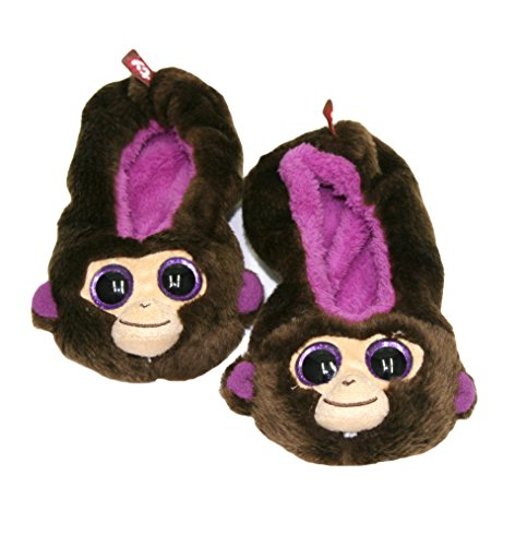 Ty Beanie Boos Kids Girls Plush Animal Toy Non Skid Slipper Socks (See More Designs, Colors, and Sizes) (Medium, Coconut Monkey)