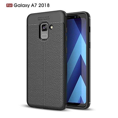 Samsung Galaxy A7 2018 Funda,Regalo:2.5D Vidrio Templado Protector Pantalla para Samsung Galaxy A7 2018,Xinyunew Contraportada PU Rojo Silicona Fundas para Samsung Galaxy A7 2018 Negro