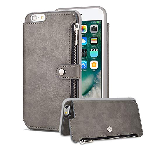 Aearl iPhone 6 Plus Zipper Wallet Case,iPhone 6S Plus Leather Case with Card Holder,Flip Folio Credit Card Slot Money Pocket Magnetic Detachable Buckle Wallet Phone Case for Women Men-Gray by Aearl