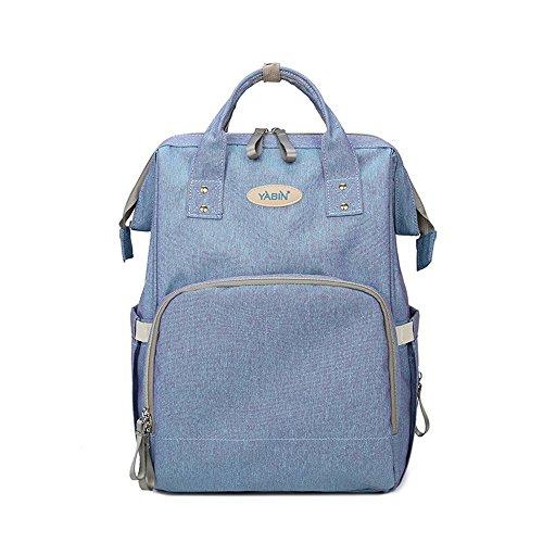 Bolso de la momia, bolso de la madre de la capacidad grande de múltiples funciones, bolso del bebé de la madre, bolso de la momia, bolso de hombro, morral de la manera ( Color : Possession of blue ) Blue and purple