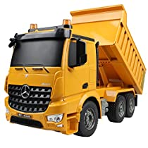 Hugine RC Dump Truck Authorized by Mercedes-Benz Arocs Professional 2.4G 6 Channel Kids Remote Control Dump Car Tip Lorry Tilting Cart Toy with LED Lights and Sounds