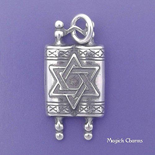 TORAH Charm Sterling Silver Jewish STAR Of David, Scrolls Pendant - t03801 Jewelry Making Supply Pendant Bracelet DIY Crafting by Wholesale - Scroll Heart Bracelet
