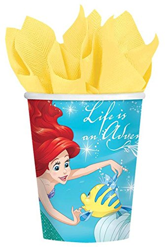 ing Disney Ariel Dream Big Birthday Party Cups (Pack Of 8), Green/Blue, 9 oz (Little Mermaid 9 Oz Cups)
