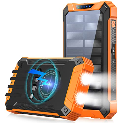 Banco de energía solar 36000mAh con linterna LED impermeable