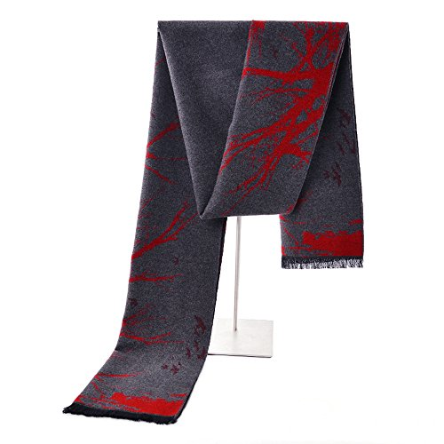 Mens Winter Cashmere Scarf - Ohayomi Fashion Formal Soft Scarves for Men(Grey/Red maple) ()