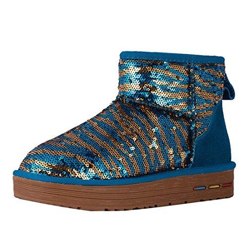 HooH Damen Pailletten Zebra Stripe Schneestiefel 5639 Aqua Blau
