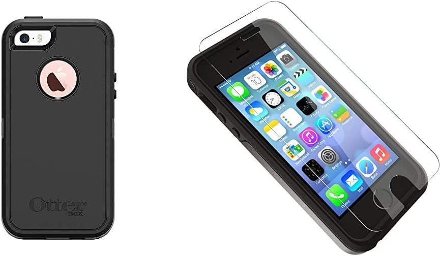 OtterBox Defender Series Case for iPhone SE (1st gen - 2016) and iPhone 5/5s ONLY - Retail Packaging - Black & Alpha Glass Series Screen Protector for iPhone 5/5s/5c/Se - Retail Packaging - Clear