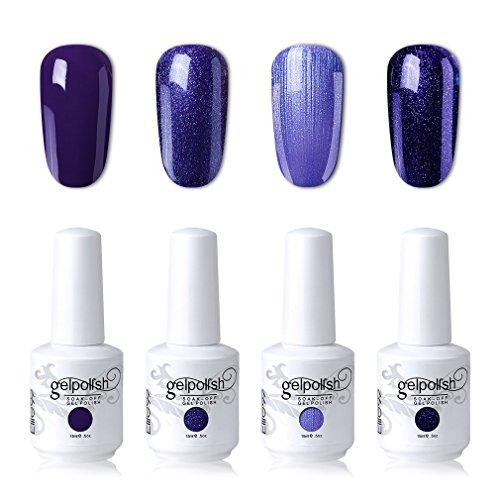 Elite99 Soak Off Gel Polish Lacquer UV LED Nail Art Manicure Kit 4 Colors Set LM-C107 + Free Gift (20pcs Gel Remover Wraps)