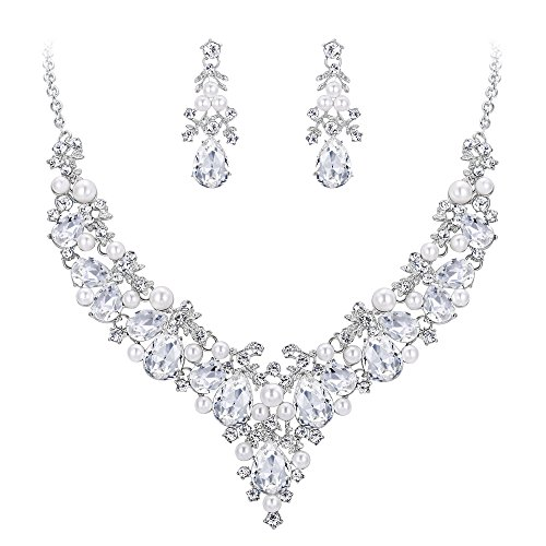 EVER FAITH Crystal Simulated Pearl Gorgeous Bridal Leaf Teardrop Necklace Earrings Set Clear ()