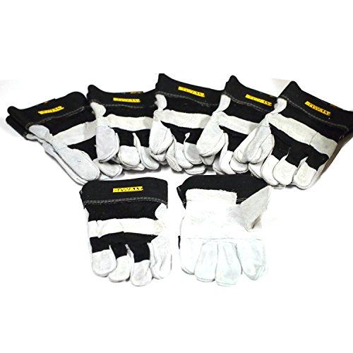 6 Pairs DeWALT Leather Palm Work Gloves Sz Large DPG41