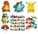Pokemon Theme Party Supplies Bundle Favors Pack-24 Action Figures,12 Bracelets and 5 Party Balloons